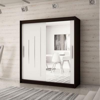 Levné Šatní skříně: Elegantní šatní skříň se zrcadlovými dveřmi Hanah 200 v barvě wenge-bílá