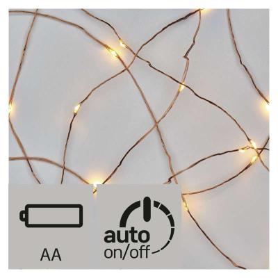 Levné Světelné řetězy na vánoční stromeček: LED vánoční nano řetěz na baterie, s časovačem, 1,9m, měděný