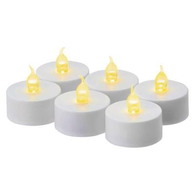 Levné Venkovní LED osvětlení: LED hřbitovní čajová svíčka, set 6ks, bílá