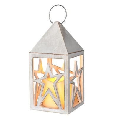 Levné Vánoční LED osvětlení: Solight dřevěná lucerna s LED svíčkou, 3x AAA