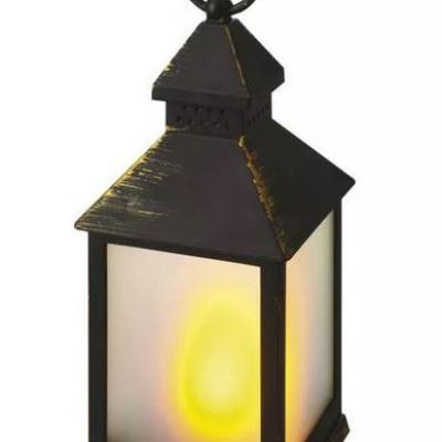 Levné Vánoční LED osvětlení: LED dekorační vintage lucerna, 3xAAA, černá