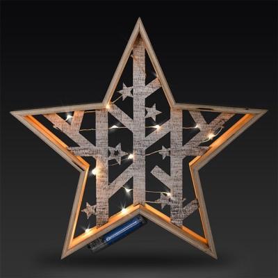 Levné Vánoční LED osvětlení: LED dřevěná vánoční hvězda, 2xAA, teplá bílá