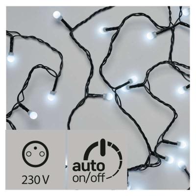 Levné Vánoční LED osvětlení venkovní: LED vánoční venkovní řetěz, kuličky, 48m, studená bílá