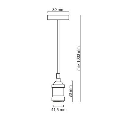 Levné Lustry a závěsná svítidla: Závěsná objímka na žárovku STOCKTON, 1xE27, 60W, měděná, 100cm