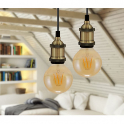 Levné Lustry a závěsná svítidla: Závěsná objímka na žárovku STOCKTON, 1xE27, 60W, patina, 100cm