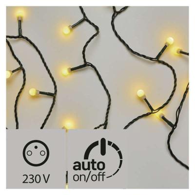 Levné Vánoční LED osvětlení venkovní: LED vánoční venkovní řetěz, 8m, kuličky, s časovačem, teplá bílá