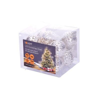 Levné Vánoční LED osvětlení: Solight LED řetěz vánoční koule stříbrné 1L207-S, 1m