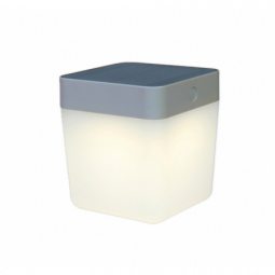 Levné Venkovní LED světla: Solární venkovní LED stolní lampička TABLE CUBE, 1W, teplá bílá, IP44, stříbrná
