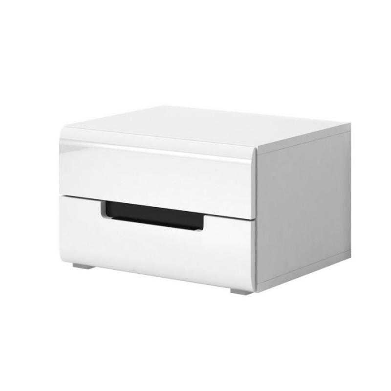 Levné Noční stolky: Noční stolek Mansueto bílý/bílý lesk 22
