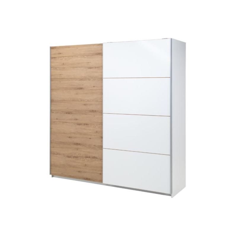Levné Šatní skříně s posuvnými dveřmi: Šatní skříň Marianna šířka 220 cm bílá/bílý dub