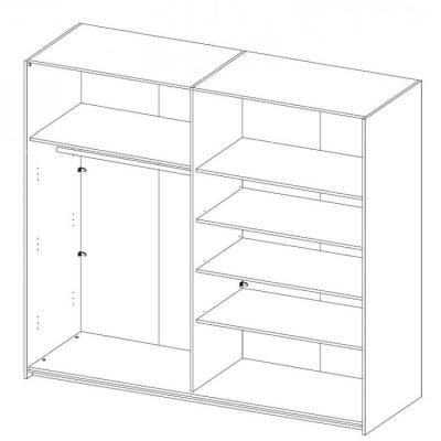 Levné Šatní skříně s posuvnými dveřmi: Šatní skříň Marianna šířka 200 cm dub/dub - černý lesk