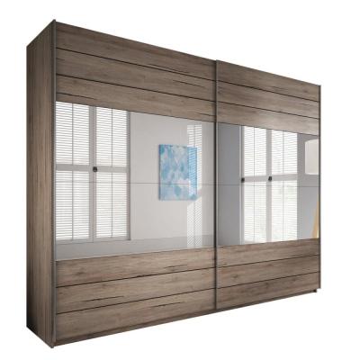 Levné Zrcadlové šatní skříně: Šatní skříň Marianna šířka 220 cm dub tmavý san remo/tmavé san remo