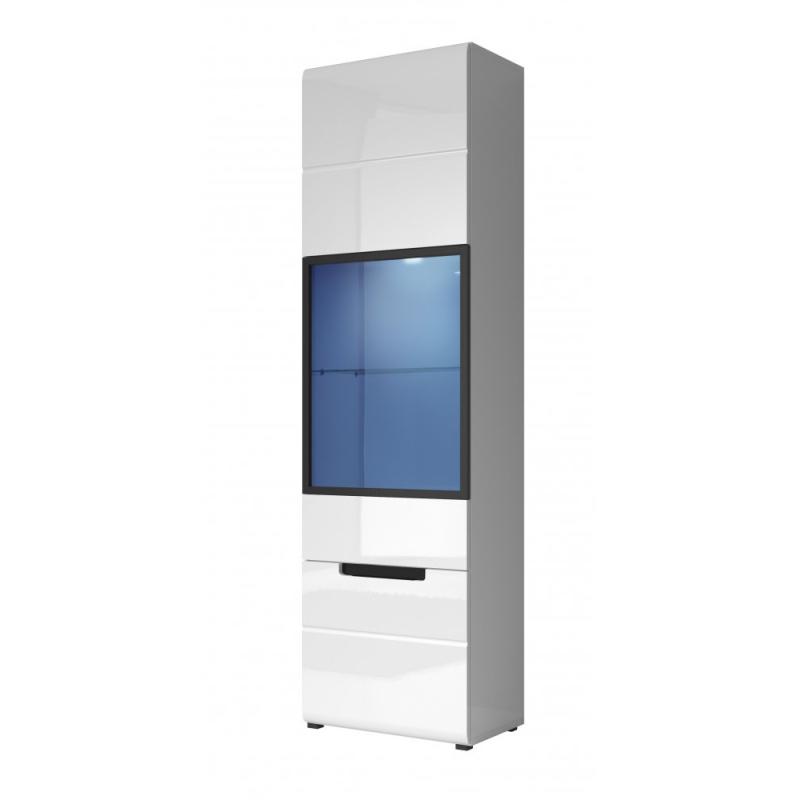 Levné Prosklené skříně a vitríny: Vitrína úzká, pravá Mansueto bílá/bílý lesk 06