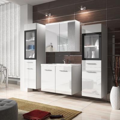 Levné Sektorový koupelnový nábytek: Moderní koupelnový nábytek Doris bílý / bílý lesk