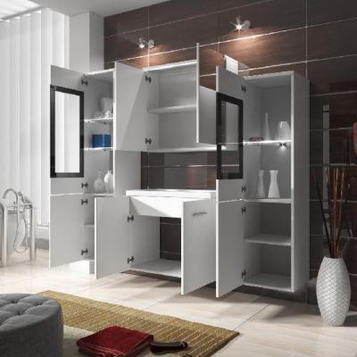 Levné Koupelnové sestavy: Koupelnový nábytek Doris II. bílý / šedý lesk s LED osvětlením