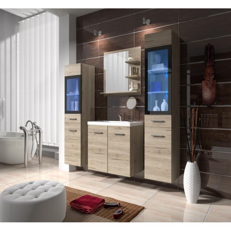 Levné Sektorový koupelnový nábytek: Koupelnová sestava Doris san remo s LED osvětlením