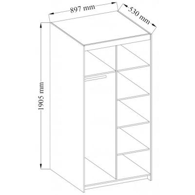 Levné Levné skříně a skříňky: Šatní skříň Rikard 2D BÍLÁ