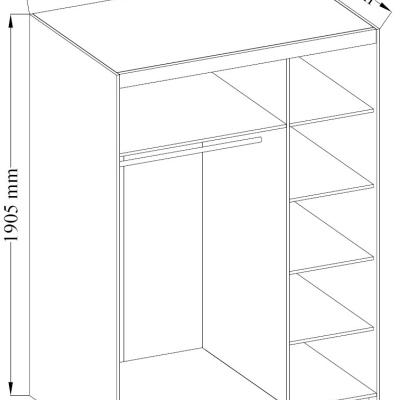 Levné Skříně do ložnice: Šatní skříň Rikard 3D BÍLÁ