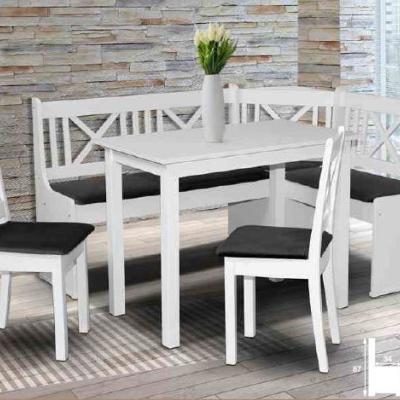 Levné Rohové jídelní lavice: Bílá rohová jídelní lavice do kuchyně Valentin 1