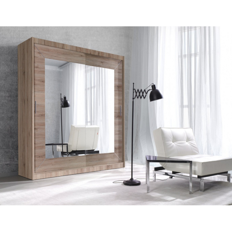 Levné Zrcadlové šatní skříně: Šatní skříň Innocenzo C 200x215x60 cm San Remo světlý