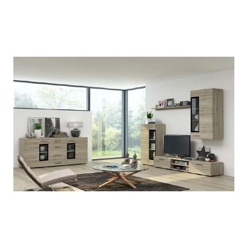 Levné Designové obývací stěny: Levná obývací stěna Marziale - san remo tmavá - s komodou a LED osvětlením