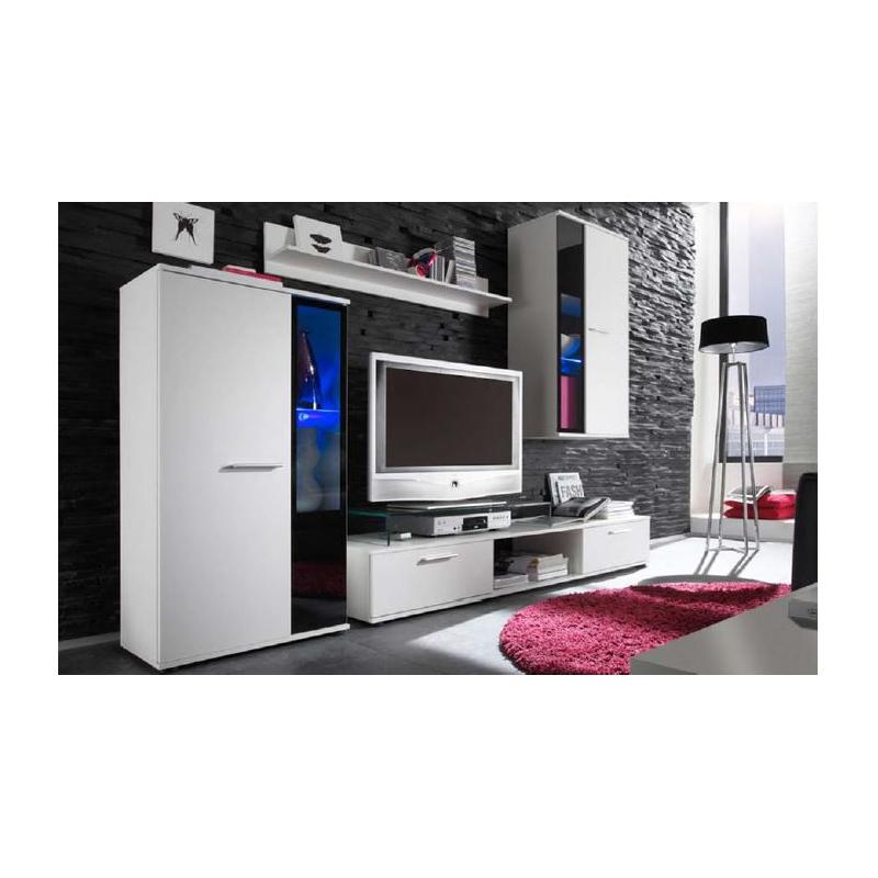 Levné Designové obývací stěny: Obývací stěna Ottaviano - bílá - s LED osvětlením