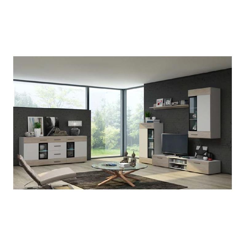 Levné Obývací stěny: Obývací stěna Marziale - bílá/sonoma - s komodou