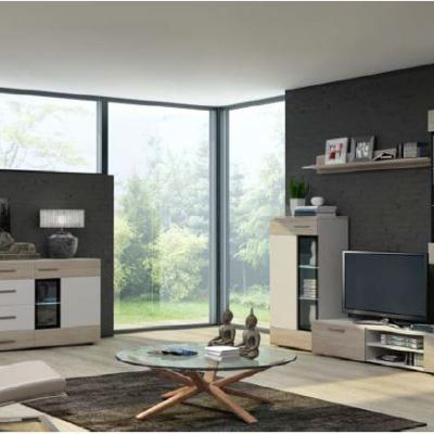 Levné Obývací stěny: Obývací stěna Marziale - bílá/sonoma - s komodou a LED osvětlením