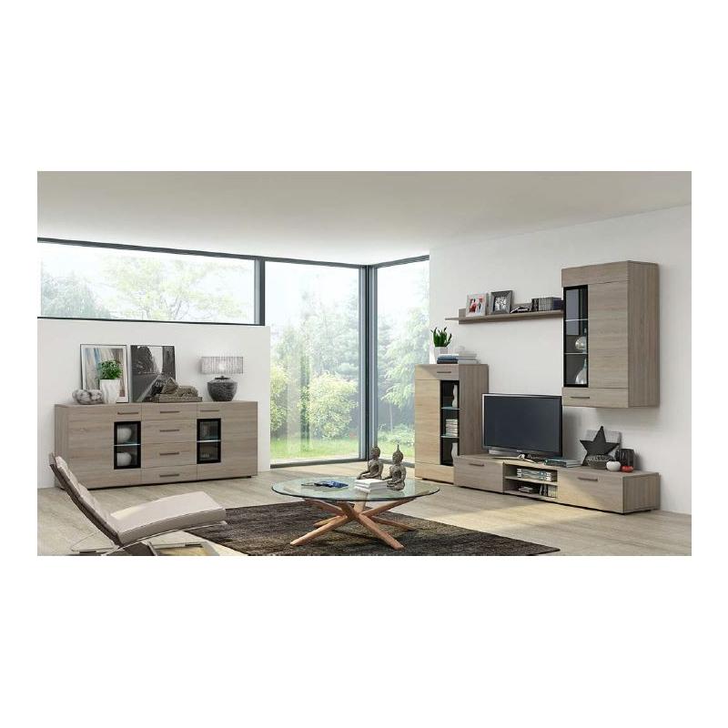 Levné Designové obývací stěny: Obývací stěna Marziale - dub sonoma - s LED osvětlením