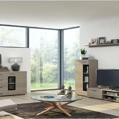 Levné Designové obývací stěny: Obývací stěna Marziale - dub sonoma - s komodou a LED osvětlením