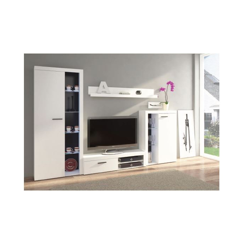 Levné Levné obývací stěny: Obývací stěna Jonna BÍLÁ - s komodou a LED osvětlením