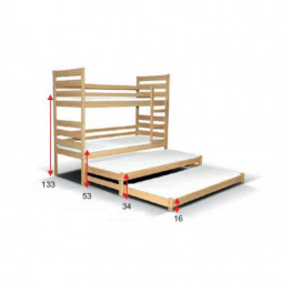 Levné Dětské patrové postele: Patrová postel pro 4 osoby Edgar I