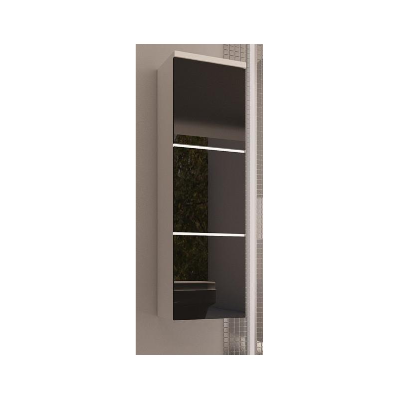 Levné Vysoké koupelnové skříňky: Skříňka závěsná Ippolito černý lesk bez LED osvětlení