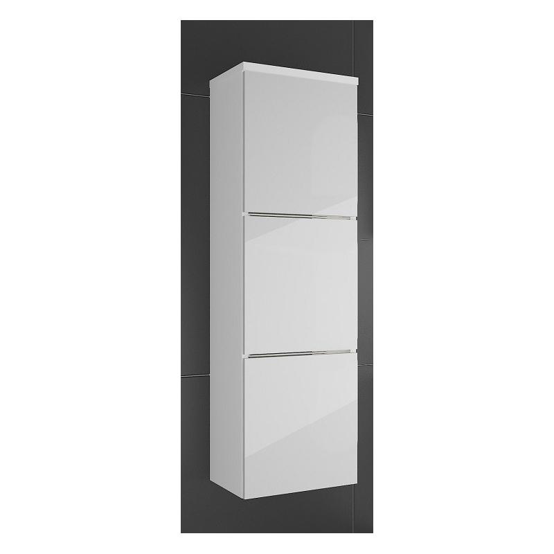 Levné Vysoké skříňky do koupelny: Skříňka závěsná Ippolito bílý lesk s LED osvětlením