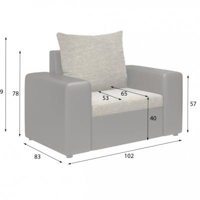 Levné Sedací soupravy 3 1 1: Moderní rozkládací sedací souprava s dvěma křesly Valeriano 02/17