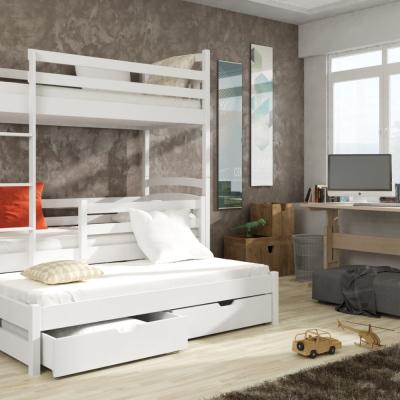 Levné Patrové postele z masivu s úložným prostorem: Patrová postel s přistýlkou Anatol 90x200 bílá