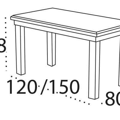 Levné Rozkládací jídelní stoly z lamina: Rozkládací jídelní stůl Cleo 5 s délkou až 150 cm
