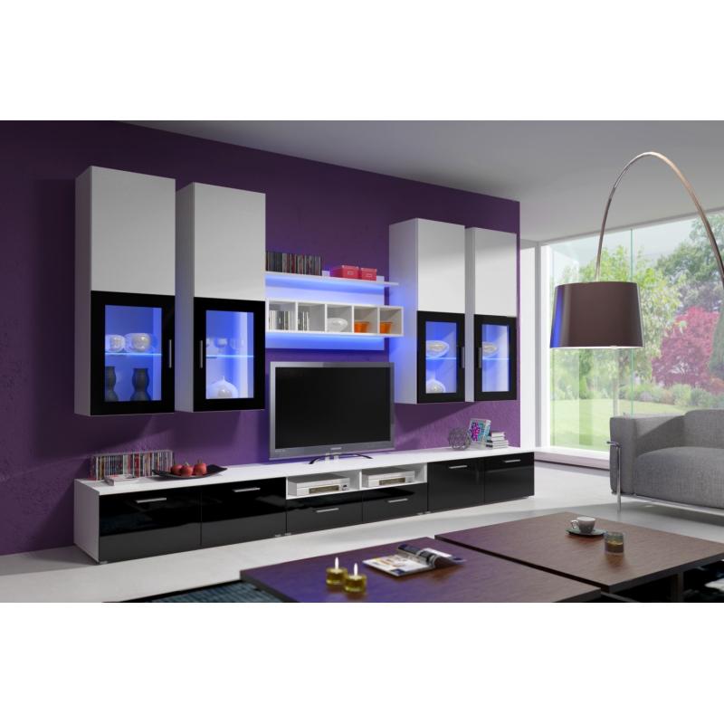 Levné Obývací stěny z lamina: Obývací stěna s LED osvětlením Adriel 1