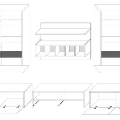 Levné Obývací stěny z lamina: Obývací stěna s LED osvětlením Adriel 2