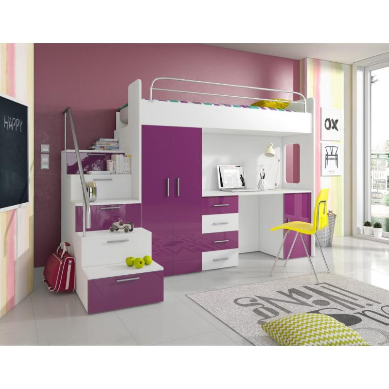 Levné Dětské postele z lamina s úložným prostorem: Dětská multifunkční patrová postel Casey 4