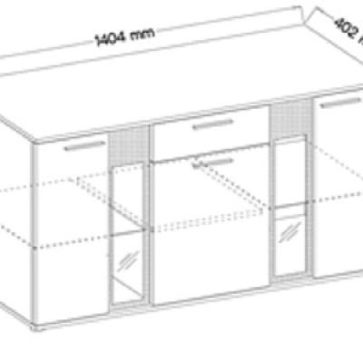 Levné Kombinované komody: Prosklená komoda bílá OTTAVIANO