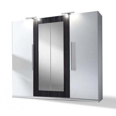 Levné Levné skříně a skříňky: Velká bílá zrcadlová šatní skříň Aileen 5