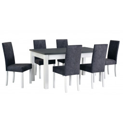 Levné Moderní jídelní sety: Moderní jídelní set RISTO se 6 čalouněnými židlemi