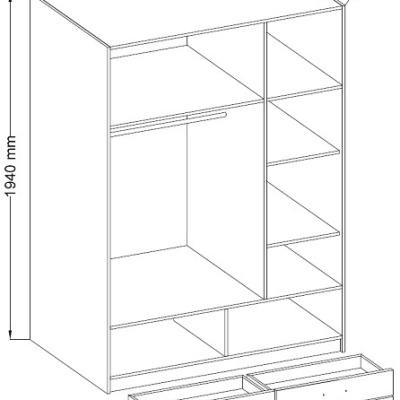 Levné Šatní skříně: Šatní skříň Anssi 1