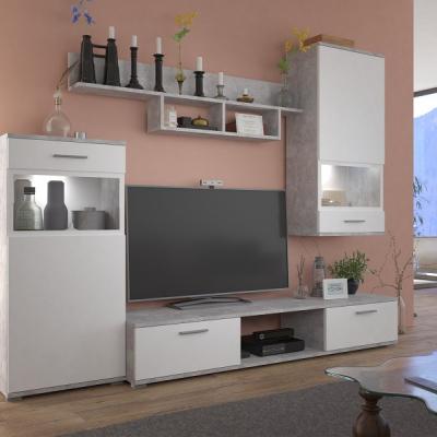 Levné Obývací stěny: Moderní obývací stěna ROSA bílá/beton