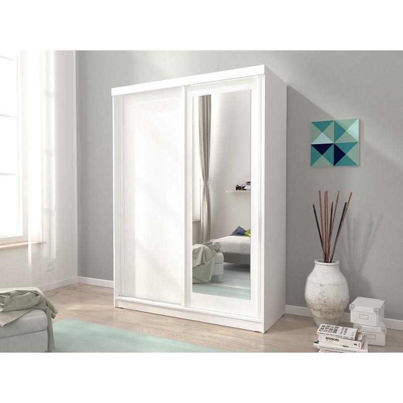 Levné Skandinávské skříně a skříňky: Šatní skříň se zrcadlem Consuela 7