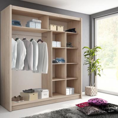 Levné Skříně do ložnice: Šatní skříň bílá se zrcadlem Consuela 8