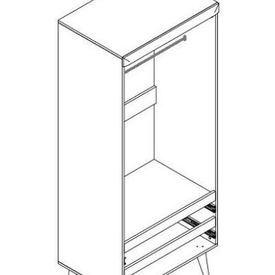 Levné Skříně a skříňky: Šatní skříň dvoudveřová se šuplíky ESKO