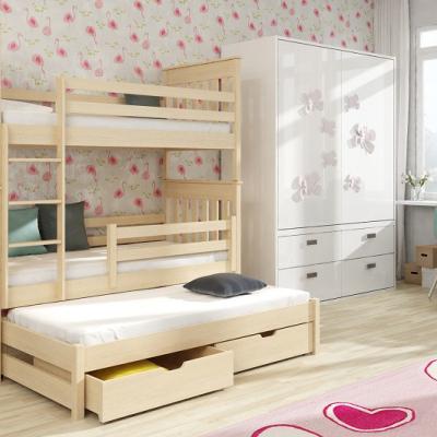 Levné Dětské patrové postele: Dřevěná patrová postel s úložným prostorem Othello