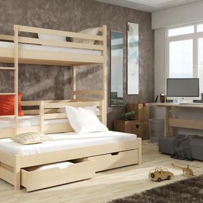 Levné Patrové postele z masivu s úložným prostorem: Třílůžková patrová postel Anatol z masivu